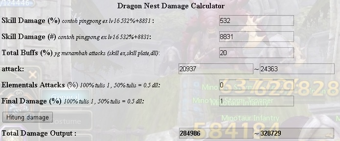 Dragon nest damage calculator